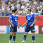USA's Carli Lloyd and Abby Wambach.