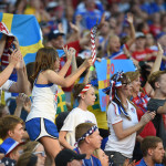 Swedish fans during the Group D match between the United States and Sweden.