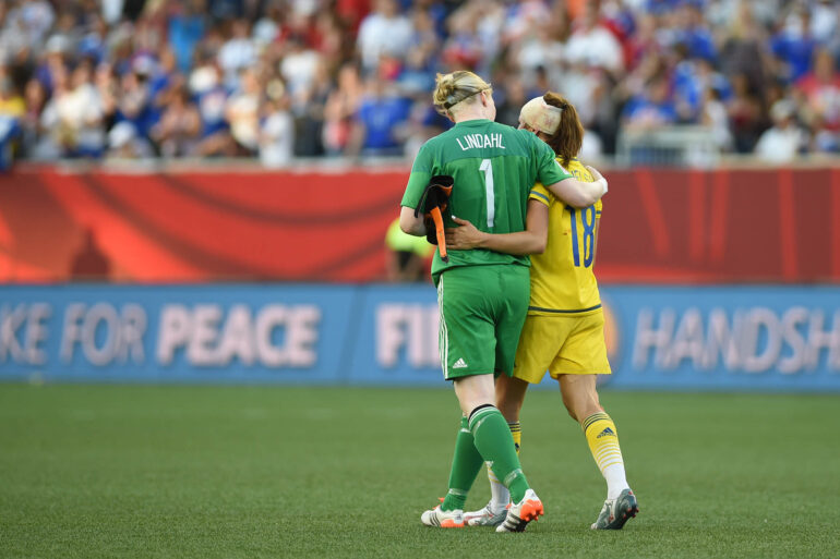 Sweden's Hedvig Lindahl and Jessica Samuelsson after the Group D match against the United States.