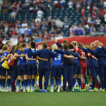 Team USA huddle after the Group D match against Sweden.