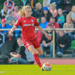 Kristie Mewis on the ball for FC Bayern Munich.