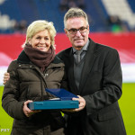 Silvia Neid is honored for her more than 100 appearances as a player for Germany.