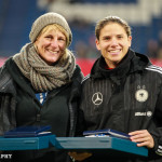 Silke Rottenberg and Annike Krahn at the ceremony honoring players with more than 100 caps for Germany.