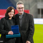 Renate Lingor is honored for her 149 caps with Germany.