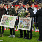 Nadine Angerer and Célia Šašić, both of whom retired this year, are honored before the game.