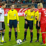Coin toss before the friendly between Germany and England.
