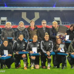 Players with more than 100 appearances for Germany honored before the friendly against England.