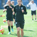 Tobin Heath warming up during pregame practice.