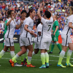 Celebrating one of Carli Lloyd's three goals against Ireland.