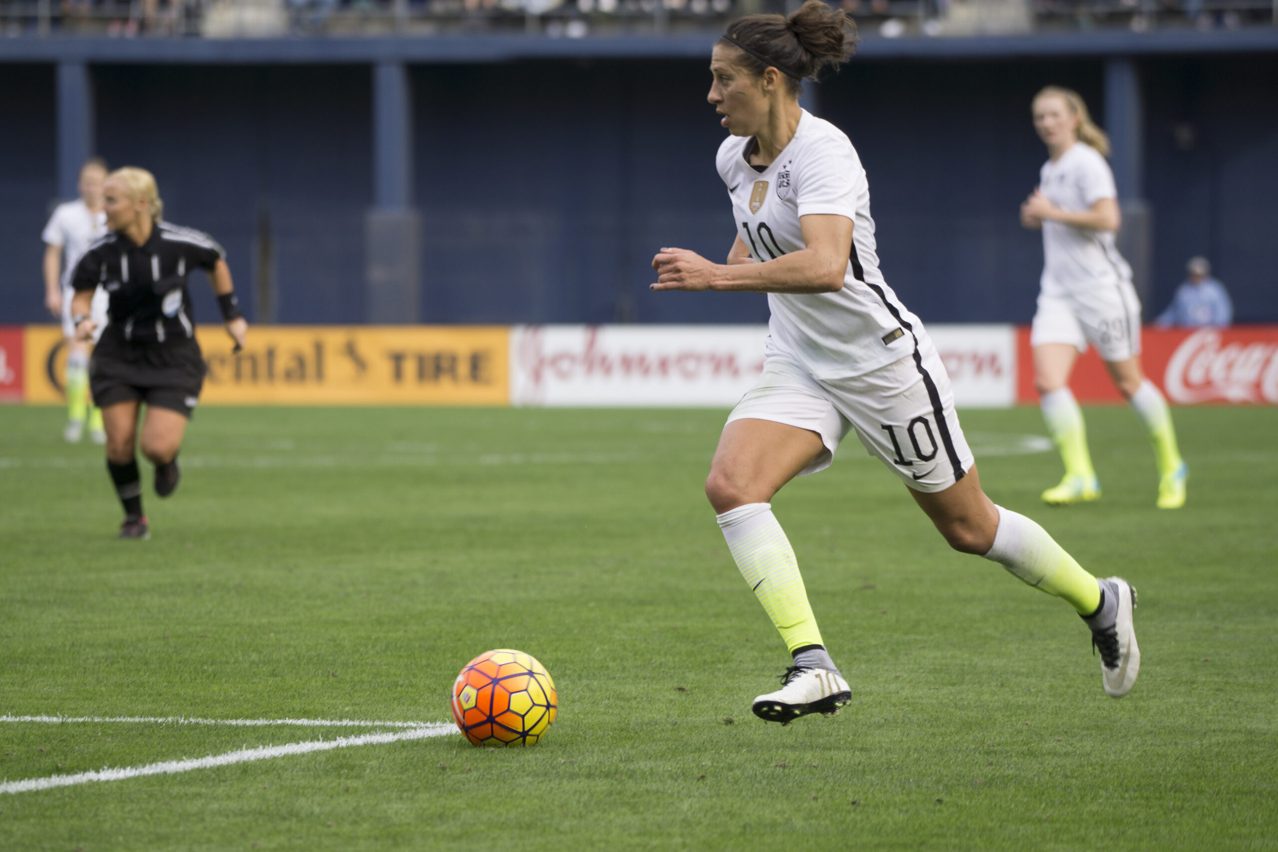 Carli Lloyd looks to attack.