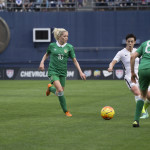 Meghan Klingenberg splits Denise O'Sullivan and Aine O'Gorman.