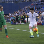 Ireland's Katie McCabe and USA's Meghan Klingenberg.