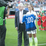 Alex Morgan is honored for her 100th cap before the match against Ireland on January 23, 2016.