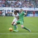USA's Christen Press battles with Ireland's Louise Quinn.