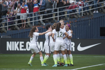 Celebrating Mallory Pugh's first goal at the senior level for the United States.
