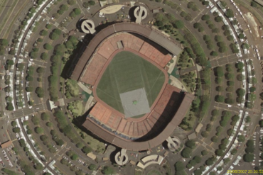 aerial view of aloha stadium in hawaii configured for baseball and soccer