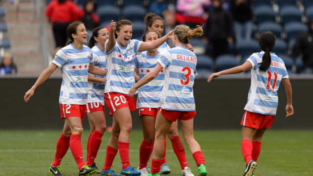 chicago red stars goal celebration by Daniel Bartel