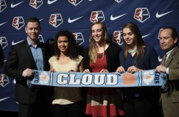 Raquel Rodriguez, Caroline Casey, and Erica Skroski at the 2016 NWSL College Draft