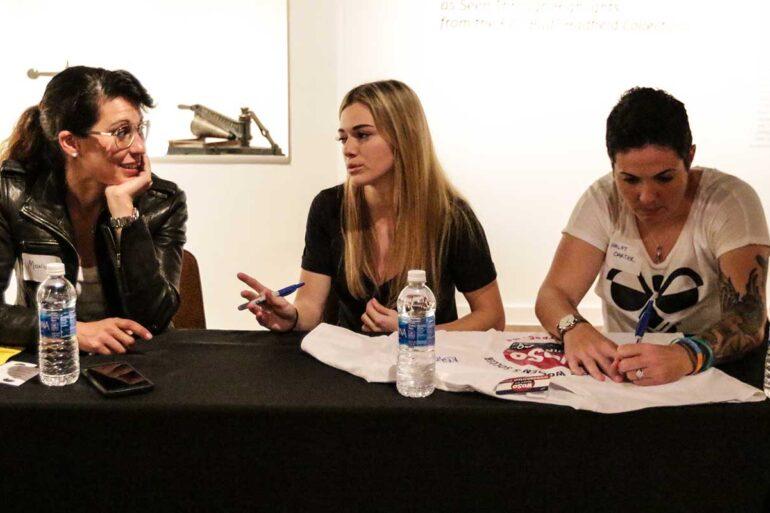 Kealia Ohai, Monica Gonzalez, and Haley Carter at WoSoCo