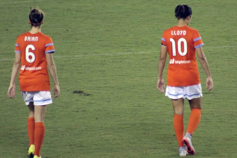 Morgan Brian and Carli Lloyd for the Houston Dash. (Victor Araiza)