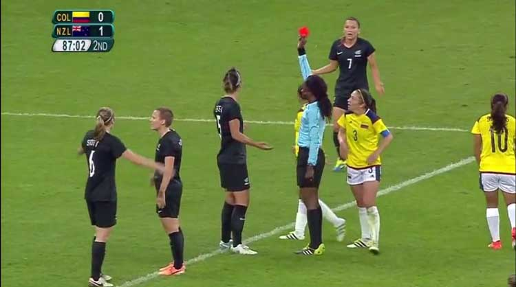 New Zealand's Abby Erceg is shown a red card agains Colombia.