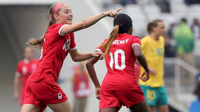Janine Beckie playing for Canada.