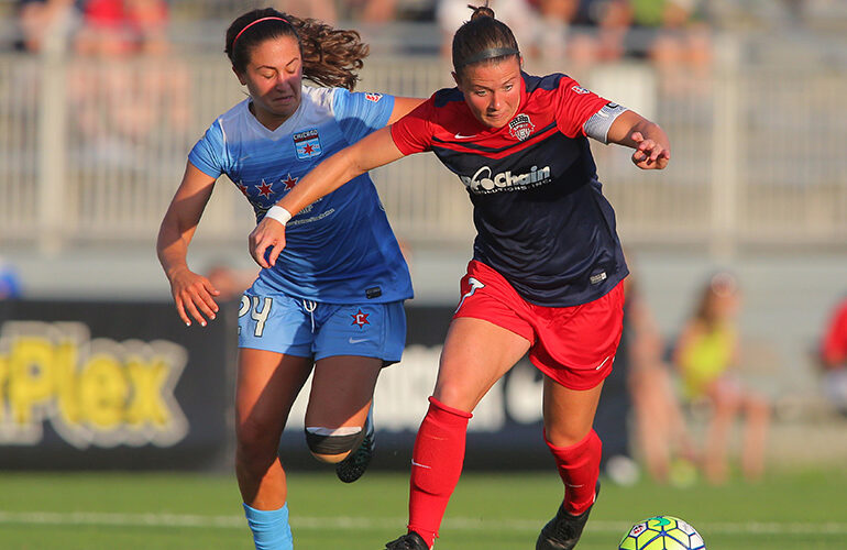 Danielle Colaprico (Chicago) and Chrsitine Nairn (Washington) battle for the ball. (NWSL)