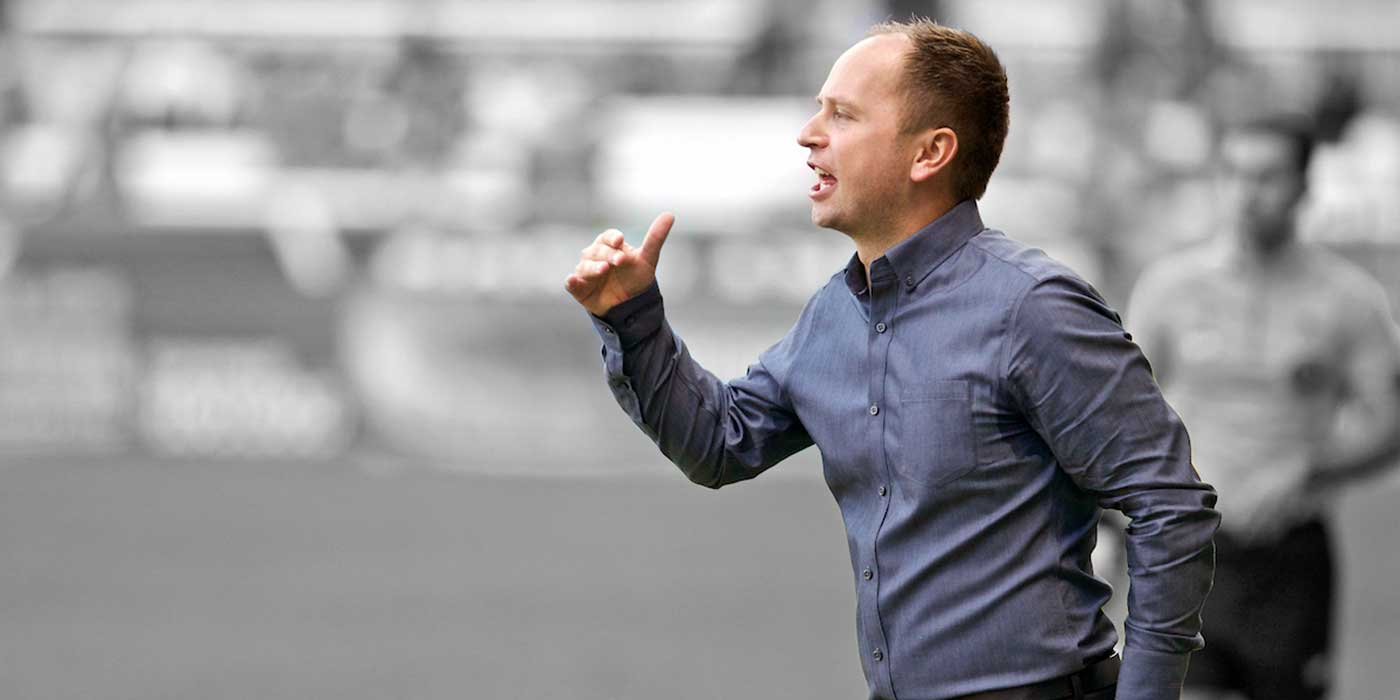 Mark Parsons, coach of Portland, by Craig Mitchelldyer