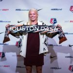 Goalkeeper Jane Campbell, selected by the Houston Dash, at the 2017 NWSL College Draft. (Manette Gonzales/OGM)