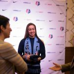 Kailen Sheridan, selected by Sky Blue FC, at the 2017 NWSL College Draft. (Manette Gonzales/OGM)