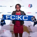 Toni Payne, selected by FC Kansas City, at the 2017 NWSL College Draft. (Manette Gonzales/OGM)