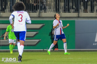 Dzsenifer Marozsán reacts after scoring Lyon's second goal.