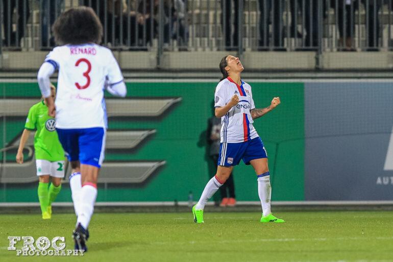 Dzsenifer Marozsán reacts after scoring Lyon's second goal.