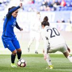 France's Amel Majri takes on Germany's Lina Magull in the 2017 SheBelieves Cup.