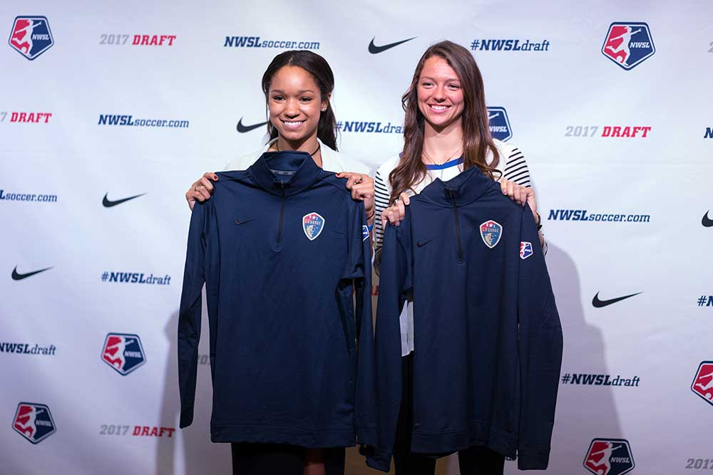 Darian Jenkins and Ashley Hatch drafted by NC Courage. (Manette Gonzales)