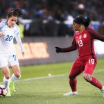 England's Karen Carney takes on the USA's Crystal Dunn during the 2017 SheBelieves Cup.