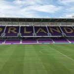 Orlando City Stadium with seats spelling out Orlando.
