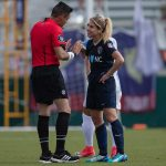 McCall Zerboni shares a moment with the referee. (Shane Lardinois)