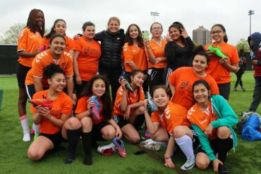 Umana Middle School soccer players and Rosie White. (Rosie White)