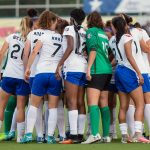 Boston Breakers team huddle. (Shane Lardinois)