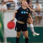 Natasha Dowie gets the ball (and a lot of Sam Mewis). (Shane Lardinois)