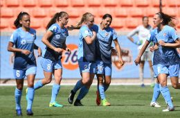 Sky Blue FC celebration aftert scoring. (Sky Blue FC)