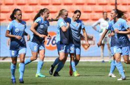 Sky Blue FC celebration aftert scoring. (Sky Blue FC)
