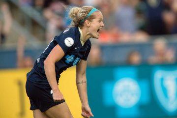 Kristen Hamilton celebrates scoring one of her two goals. (Shane Lardinois)