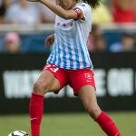 Christen Press on the ball and on the attack. (Shane Lardinois)
