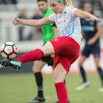 Julie Ertz sends the ball up the field. (Shane Lardinois)