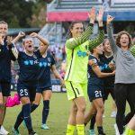 North Carolina Courage celebrating after their semifinal win. (Shane Lardinois)