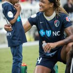 Jessica McDonald and her son after the game. Try not to smile looking at this. (Shane Lardinois)