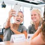 Jaelene Hinkle and Makenzy Doniak taking a selfie during 2017 NWSL Media Day. (Monica Simoes)