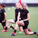 Allie Long of the Portland Thorns stretching during training. (Monica Simoes)
